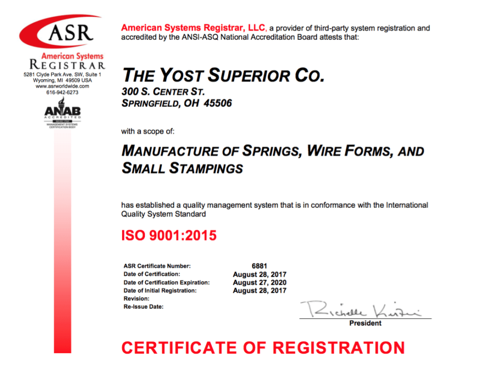 Yost ISO certificate
